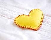 Valentine brooch , Yellow heart   -  valentine heart brooch,hand stitched Felt heart pin