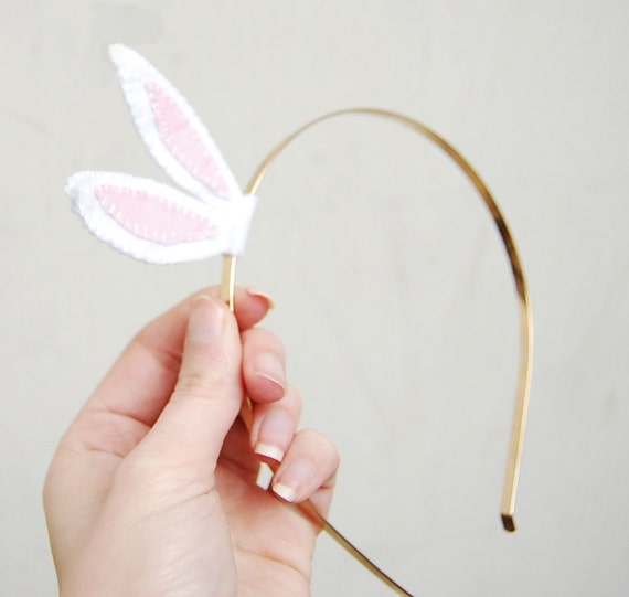 Easter bunny ears headband - bunny ears headband , golden headband with easter bunny ears