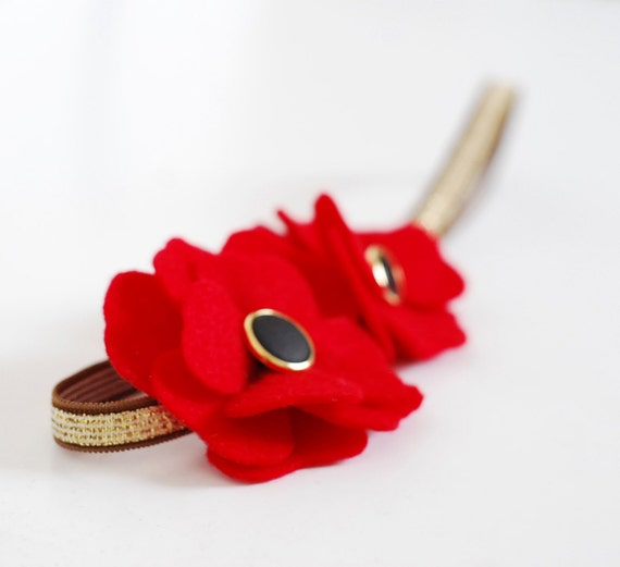 Romantic red flower headband -  brigth Felt flowers on a golden elastic headband, spring accessory for women and girls