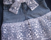 Denim Skirt with Lace Country Summer Outdoor Wedding OOAK