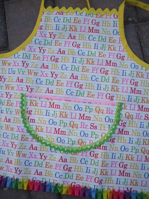 Children's Art Smock with Watermelon Pocket Oil Cloth Apron
