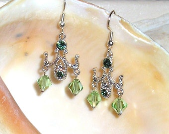 Green Crystals Earrings CHANDELIER Victorian Edwardian Style STERLING SILVER Earwires Green Prom, Wedding, Bridal Jewelry Earrings