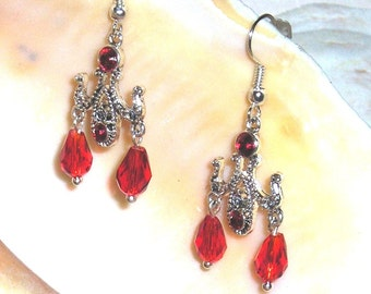 Red Crystal Earrings Silver TEARDROP CHANDELIER Bridal or Prom Jewelry STERLING Silver Earwires Swarovski Crystals