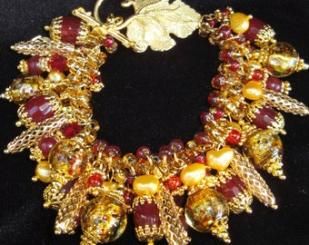 Red Gold Chunky Charm Bracelet Cha Cha Bracelet Red Jade, Yellow Pearls, Crystals, Lampwork Glass OOAK  Handmade