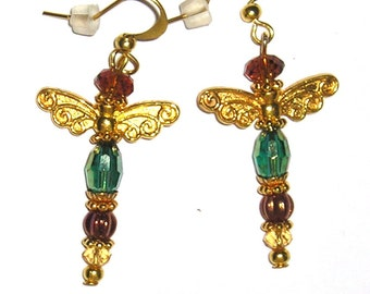 Gold Dragonfly Earrings Teal Green Crystals Perfect for Prom Jewelry or Mother's Day Gift. Ladies Accessories. Donna Lea Jewelry