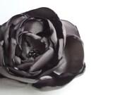 """Flower Hair Clip/Headband/Brooch 3"""" -  Dark Gray Satin"""