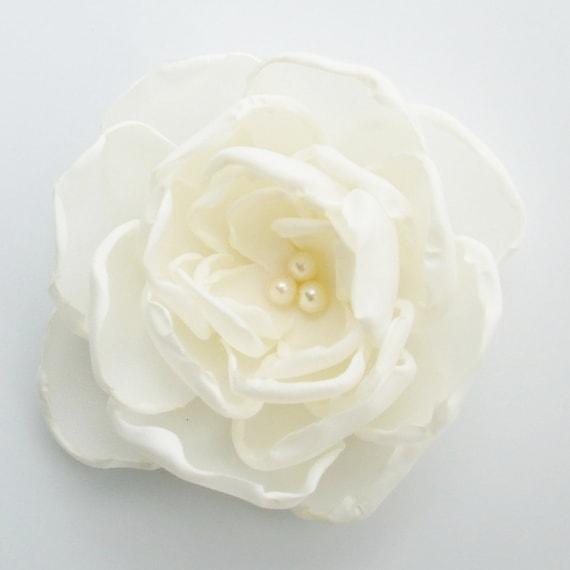 """Spring Flower Hair Clip/Headband/Brooch  3"""" - Ivory"""