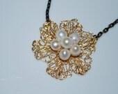 Pearl on Crochet Wire Flower Necklace, Crochet Wire Jewelry
