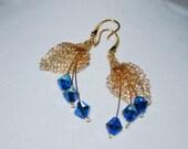 Crochet Wire Flower Earrings, Swarovski Crystal on Wire Flower Earrings, Crochet Wire Jewelry, Capri Blue AB