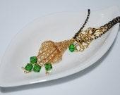 Crochet Wire Necklace, Crochet Wire Flower Pendant Necklace, Swarovski Crystal on Wire Flower Necklace, Crochet Wire Jewelry