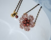 Pearl on Crochet Wire Flower Necklace, Crochet Wire Jewelry, Crochet Flower Pendant Necklace, Antique Copper, Cranberry Freshwater Pearls