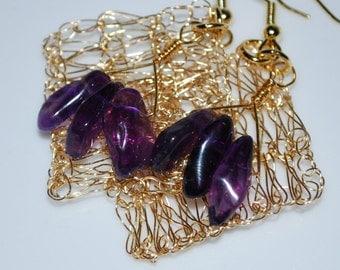 Tri-amethyst Chip on Diamond Crochet Wire Earrings, Crochet Wire Jewelry