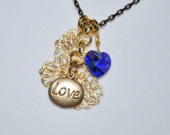 Love and Heart Necklace - with Crochet Wire Flower, Blue Heart, Blue