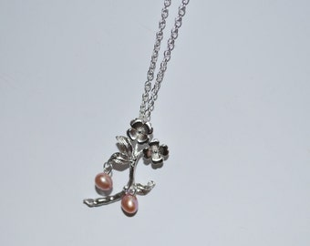 Flower Branch Pendant Necklace - with Freshwater Pearl, Mauve