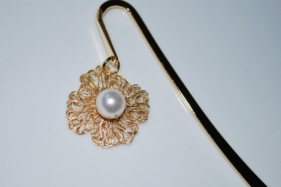 Metal Bookmark, Lovely Bookmark - Crochet Wire Flower with Swarovski Crystal Pearl, White