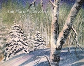 "Winter Night -  8 "" x 10"" signed giclee print - Watercolor and Ink landscape"