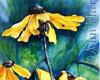 """Summer Surprise -  Floral watercolor  8"""" x 10"""" signed giclee print"""