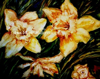 D's Daffodils - watercolor, 8 x 10 giclee print