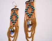 Seed bead diamond pattern earrings with chain and pyrite