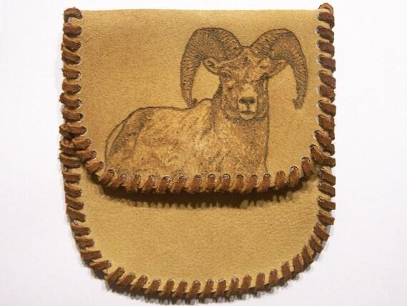 Rocky Mountain bighorn sheep ram suede pouch