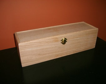 Unfinished Wooden Wine Box w/ Hinges & Latch-1 Bottle-unfinished wood box-ready to finish-engravable wood box-personalized laser engraving