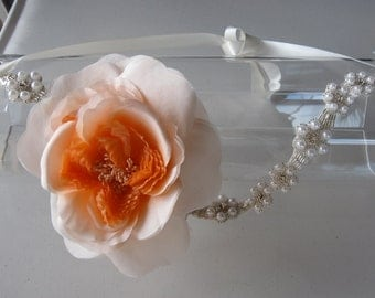 Silk Orange Coral Flower Halo Headband with Pearl and Crystal Flower Band and Satin Tie, for weddings, parties, other special occasions