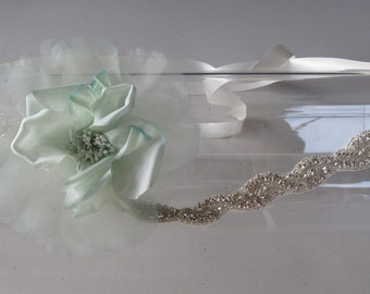 Mint Green Silk Flower Halo Headband with Crystal Beaded Band and Ivory Satin Ribbon Tie, for weddings, bridesmaid, other special occasions
