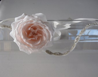Pink Silk Flower Crystal Beaded Halo Headband with Ivory Satin Ribbon Tie, for weddings, bridal, bridesmaid, special occasions