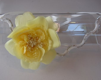 Silk Yellow Flower Halo Headband with Crystal Beaded Band and Ivory Satin Ribbon Tie, for weddings, bridesmaid, parties, special occasions
