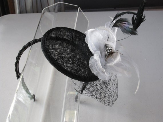 Custom Listing for Christi, Black Feather White Flower Sinamay Fascinator Hat with Veil and Beaded Headband