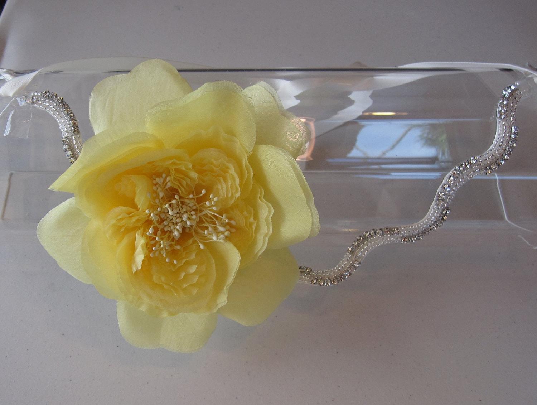 Headbands Turbans Halo I Tie Headband Black Silk Yellow Flower With Crystal Beaded Band And Ivory Satin Ribbon For