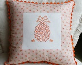 French Country Easter Egg and Bunny Rabbit Embroidered Accent Pillow, Easter Decoration