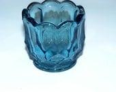 Sale No coupon needed Vintage Blue Cut Glass Salt Dip Toothpick Holder Bud Vase