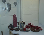 Huge Lot of Primitive Homespun Farmhouse Supplies/Crafts Candles, Sconces, Pip Berries  For Crafts