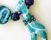 African Kazuri Beaded Necklace, Giraffe, Fair Trade, Animals, Turquoise, Blue, Unique