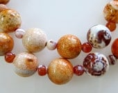 Crab Fire Agate Beaded Necklace, Orange, Pink, Burgundy, Cream, Sterling Silver, Semi-Precious Gemstones
