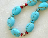 Blue Turquoise Magnesite Beaded Necklace, Boulder Tourquoise, Red Coral, Sterling Silver, Semi-Precious Gemstones