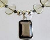 Lemon Quartz Beaded Necklace, Smoky Quartz Pendant, Sterling Silver, Designer, Semi Precious Gemstone