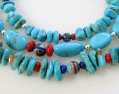 Southwestern Multi Strand Turquoise Beaded Necklace, Sterling Silver, Inlaid Beads, Coral, Lapis Lazuli