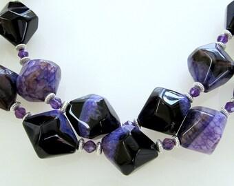 Purple Lavender Agate Beaded Necklace, Sterling Silver, Unique, Designer, Semi Precious Gemstones