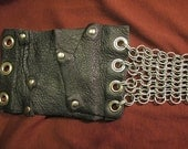 Recycled Leather and chainmaille high waist belt