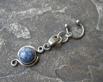 Belly Button Rings / Belly Button Jewelry in Sterling Silver & Blue Sodalite - Handmade Body Jewelry Belly Dancers Tribal