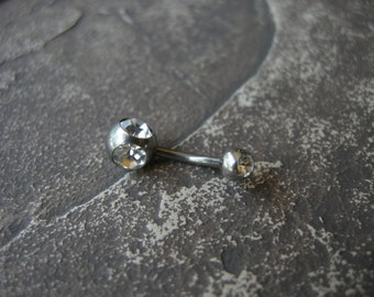 Belly Button Ring - Navel Piercing - Ring - Curved Barbell - Surgical Steel - Triple Gemstone - Crystal / CZ