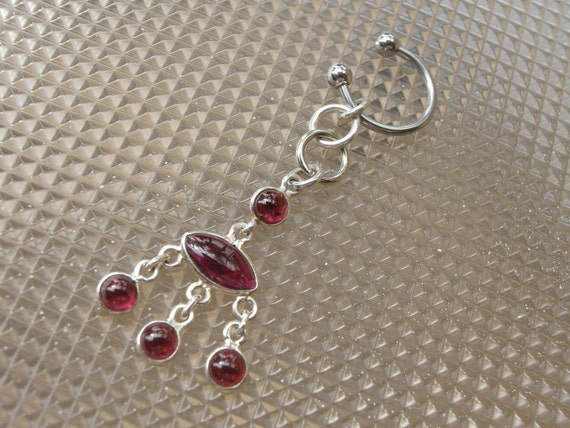 Belly Button Jewelry / Belly Button Rings  in Sterling Silver & Garnet - Handcrafted Body Jewelry