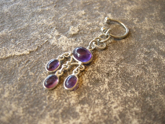 Belly Button Rings   Belly Jewelry in Sterling Silver & Amethyst - Handcrafted Body Jewelry