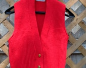 Bright Red 1970's Knit Sweater Vest