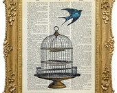 """Free-Cage Bird - ORIGINAL ARTWORK hand painted Mixed Media printed on Repurposed Vintage Dictionary page 8"""" x11"""""""