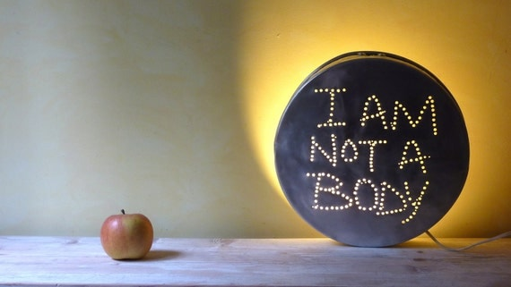 Hanging Repurposed Industrial Lighting I am not a body InSight Light dead pan charm round Large from vintage Italian aluminum