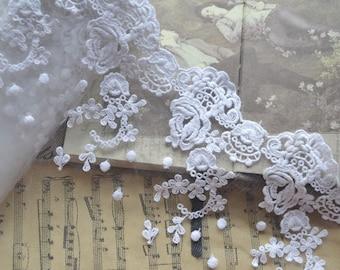Cotton Lace Trim, White Rose Bridal Veil Lace, Wedding Lace Trim 2 yards
