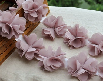 Chiffon Leaves Trim Dust Pink Trim  Dress Costume Headwear Home Decor Supplies 2.37 Inches Wide